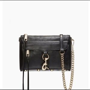 Rebecca minkoff black gold chain strap crossbody